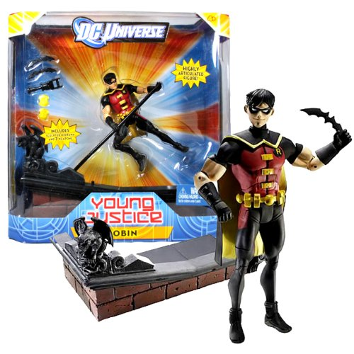 Mattel Year 2011 DC Universe Young Justice Series 6 Inch Tall Action Figure - ROBIN with 2 Batarangs, Grappling Gun, Holographic Computer and Sculpted Diorama Display Base -