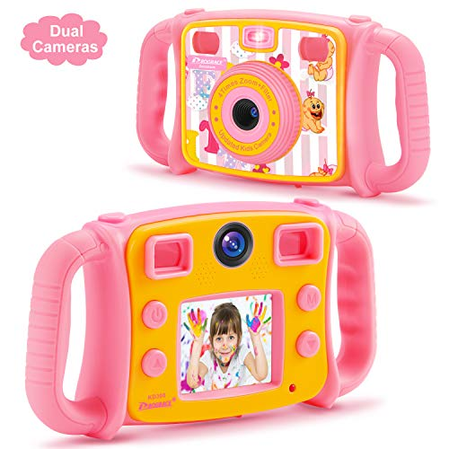 Prograce Kids Camera for Girls Gift 1080P Children Selfie Camera Kids Video Camera 2 Inch LCD Duo Camera 4X Digital Zoom Camcorder and - Camera Digital Kid Tough