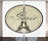 Paris Decor Collection Vintage Wall Decorative Sign with Paris Theme Interior Famous Landmark Tourism Image Living Room Bedroom Curtain 2 Panels Set Beige Black