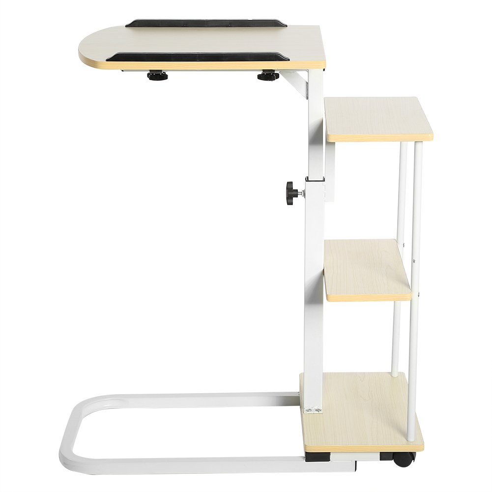 Overbed Computer Table, Multi-Function Height Adjustable Overbed Table Sofa Side Table Mobile Laptop Cart Computer Desk with Wheels by Yosoo (Image #6)
