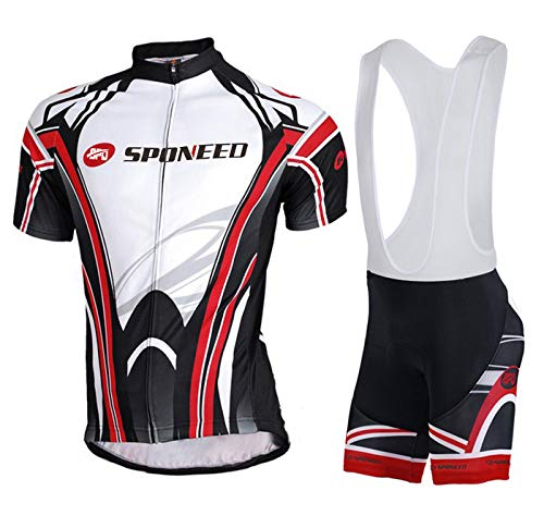 (sponeed Mens Cycling Bibs Sets Jerseys and Bicycle Bib Shorts Padded Biking Suit Pro Clothes Wear Asian L/US M Black-red)