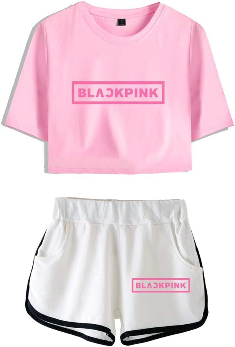 Court Pyjama Casual JISOO Jennie Lisa Rose Blackpink Femmes D/ét/é /À Manches Courtes en Coton Costume Deux Pi/èces Ensemble Crop Top