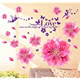 Decals Design 'Dreamy Pink Flowers Blowing' Wall Sticker (PVC Vinyl, 50 cm x 70 cm)