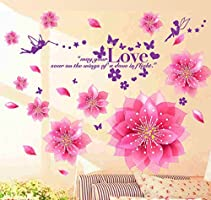 Decals Design 'Dreamy Pink Flowers Blowing' Wall Sticker
