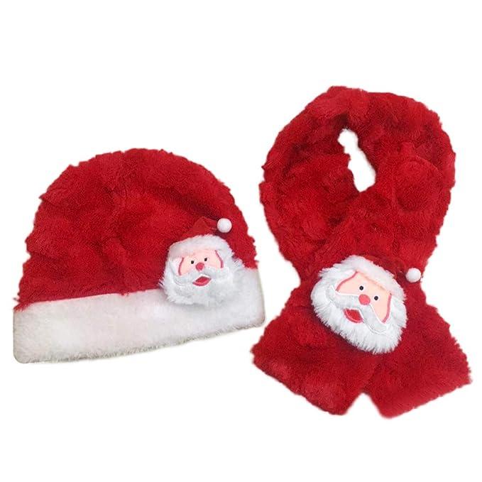 BESTOYARD Sombrero y Bufanda de Navidad Santa Claus Warm Plush Hat Bufanda  Festival Traje para bebés 184594d0bff