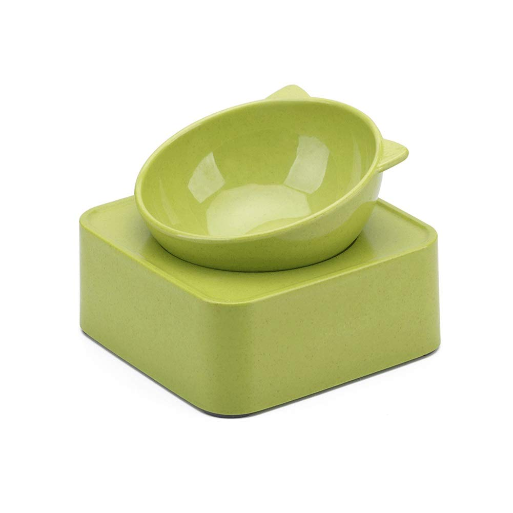 Green Cat Food Bowl Ceramic Material AntiSlip Chassis Split Design Angle Adjustment AntiOverflow Pet Feeder Feeding and Watering Cats and Dogs, Other Pets are Available (color   orange)