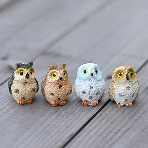 JINMURY 4Pcs Resin Miniature Fairy Garden Owl Statues Mini Figurines Ornament Cute Owl Sculpture for Home Outdoor Garden Lawn Dollhouse Plant Pot -