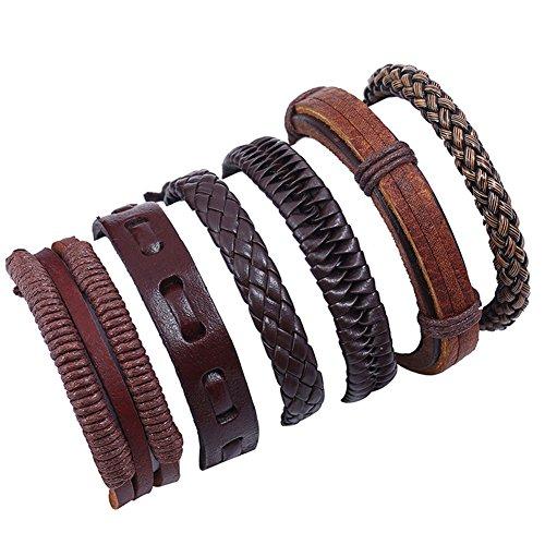FLDC Mix 6 Wrap Multilayer Hand Woven Bracelet Set Jewelry Leather Wristbands Bracelets Cuff (Jewelry Wholesale Leather)