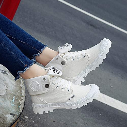 UOMOGO Sneakers Polacchine 4 Rosa Bianco Scarpe da Tela Zeppa Stivaletti Tacco Interna Bianco Alte Donna Nero cm in Ginnastica Stivali rqPUXr