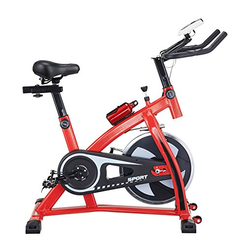 Pinty Pro Stationary Upright Exercise Bike Indoor Cycling Gym Cardio Trainer with LCD Monitor & Water Bottle (Red) Pinty