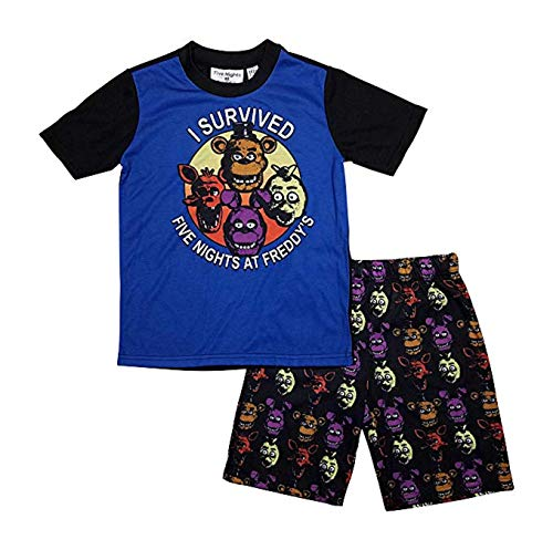 Five Nights at Freddy's (FNAF) Boys Summer Pajamas (Large 10/12) Blue (Five Nights At Freddys Cool Math Games)