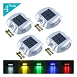 YUELGUANG Solar Dock Light- Set of 4- LED Deck Light Solar Powered Path Road Dock Lights Outdoor Warning Step Lamps for Driveway Garden Deck Walkway Backyard Fence Patio(4 Pack,White)
