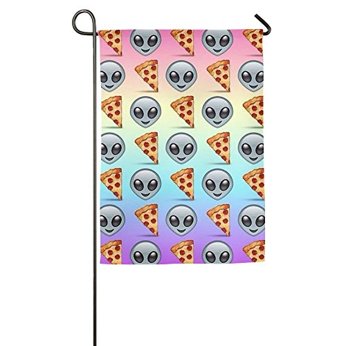 Alien And Pizza Emoji Seasonal Garden Flags For Outdoors One-Sided Garden Flag For Thanksgiving Day,halloween,Christmas Gift