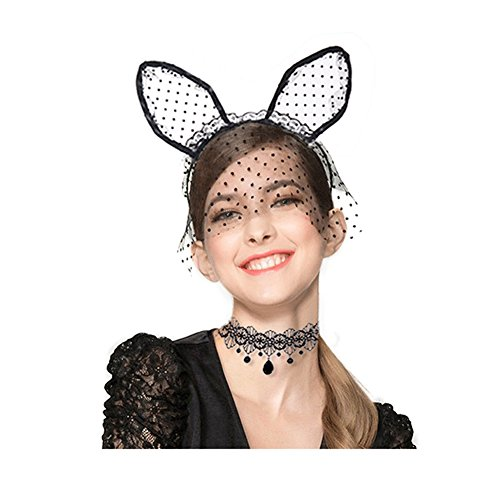 Adult Masquerade Accessories (Zealmer Shoopic Sexy Cat Ear Headband Lace Masquerade Mask Black Choker Cosplay Costume Jewelry)