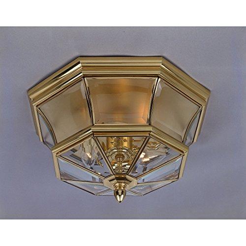 - Quoizel NY1794B Newbury Outdoor Flush Mount Ceiling Lighting, 2-Light, 120 Watts, Polished Brass (8