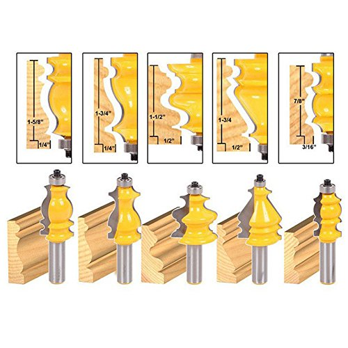 Architectural Crown Molding - Agyvvt 5 Bit Architectural Molding Router Bit Set - 1/2