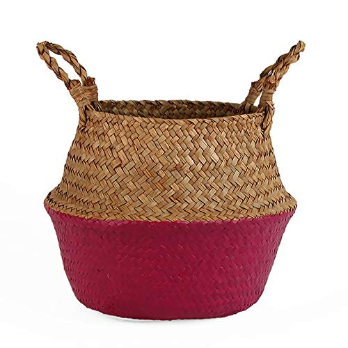 SeedWorld Storage Baskets - Straw Basket Pot Seagrass Rattan Laundry Basket Folding Woven Clothes Toy Sundries Home Storage Baskets Wicker Vases for Flowers 1 PCs -