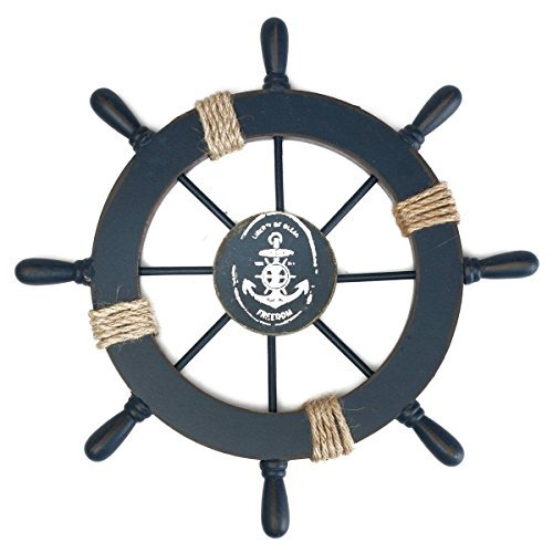 Rosenice Wooden Ship Wheel Nautical Boat Ship Wheel Wall Decor Dark Blue]()
