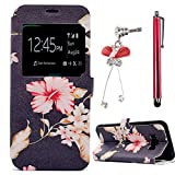 For Samsung Galaxy S8 Plus Case, Sunroyal PU Leather Skin View Window Flip Stand Quick Opening Window Bumper Shell Embossing Colorful Pattern Protective Back Cover Case Shield for Samsung Galaxy S8 Plus + Anti Plug + Don't Touch My Phone Pen - Red Flo