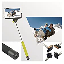SFR Extendable Self Portrait Selfie Handheld Stick Monopod With Smartphone Adajustable Holder,Lightweight Monopod,Extendable Camera Selfie Self Portrait Shooting Pole Adjustable Handheld Monopod Mount Holder for Iphone 5s 5c 5 4s 4 HTC One LG Sony Samsung Galaxy Mobile Cell Phone(Green)