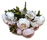 Pretty Charming 1 Bouquet Artificial Peony Flowers Festival Party Decorative Flower Wedding Christmas Home Decal Flower (Light Pink)