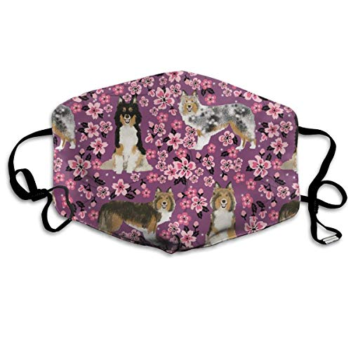 Sheltie Dogs and Cherry Blossoms Print - Amethyst Anti Dust Mask Anti Pollution Washable Reusable Mouth Masks