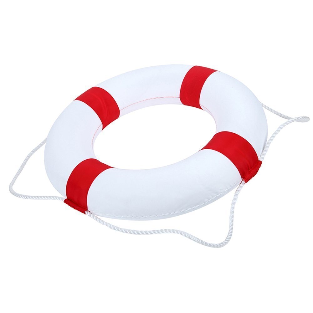 Benwu Leader Enterprise Management Co., Ltd Lifebuoy 52cm/20.5inch diameter Selling Wonderful Welcome Aboard Nautical Lifebuoy Ring Wall Hanging Home Decoration (red)