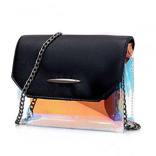 TOOGOO Bolsa cuadrada pequena de cadena de plastico transparente de moda Bolsa de mensajero hombro de cuero PU vintage femenino Negro Negro