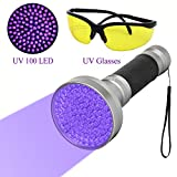 BlackLight Flashlight, Ruri's 100 LED Ultra Violet UV Flashlight handheld Stain Detector with UV Safety Goggles to Spot Scorpions, Bed Bugs, Bodily Urine, Car Freon Leaks