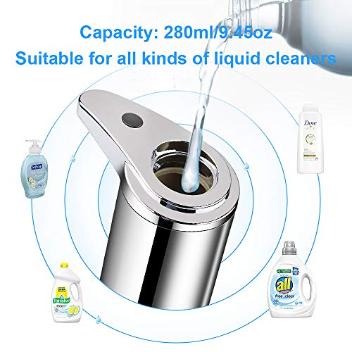 Automatic Hand Soap Dispenser, Stainless Steel Touchless Soap Dispenser Pump with Infrared Motion Sensor & Waterproof Base, Smart IR Induction Hands-Free Liquid Soap Dispenser for Kitchen Bathroom