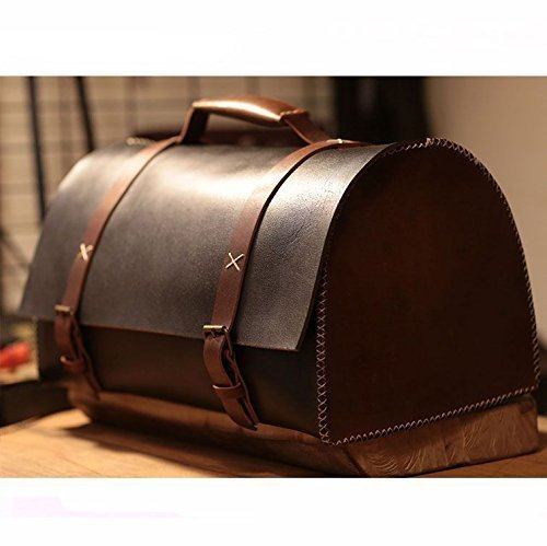 BLack Leather Handmade Retro Duffel Bag