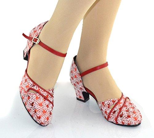 Crc Femmes Fermeture Élégante Toe Sparkle Matériel Salle De Bal Morden Salsa Latin Tango Fête De Mariage Professionnel Chaussures De Danse Rouge