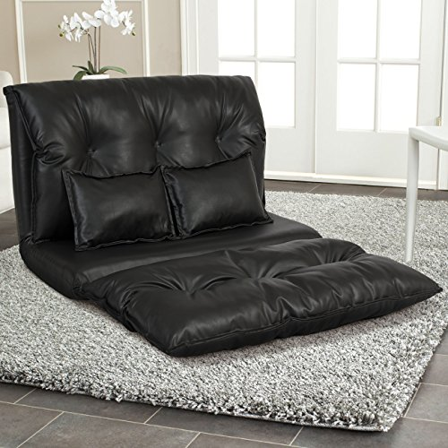 Best Choice Products PU Leather Foldable Modern Leisure Floor Sofa Bed with Two Pillows, (Leather Backrest)