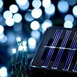 Saffron Solar Holiday Christmas Lights, Indoor/Outdoor, 40ft, 100 LED, Cool White