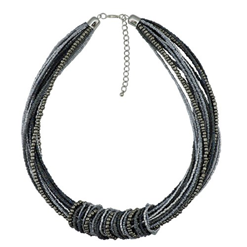 Bocar Chunky Statement Colorful Seed Beads Women Choker Collar Necklace (NK-10314-grey)
