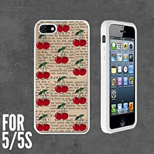 Retro Cherry on Newspaper Custom made Case/Cover/skin FOR Apple iPhone 5/5S - White - Rubber Case + FREE SCREEN PROTECTOR ( Ship From CA)
