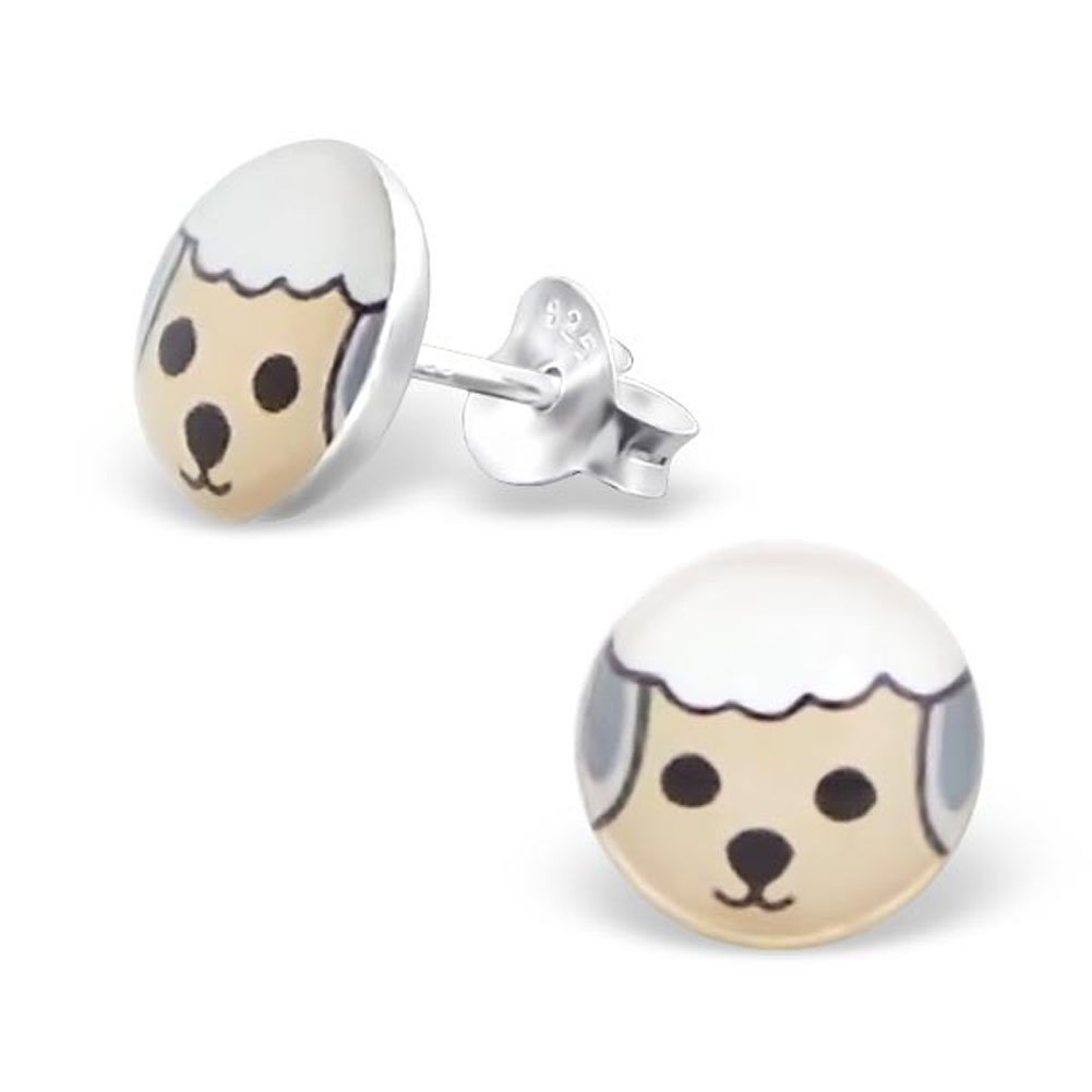E19719 Cute White Sheep Face Round Earrings Girls Posts Studs 925 Stering Silver