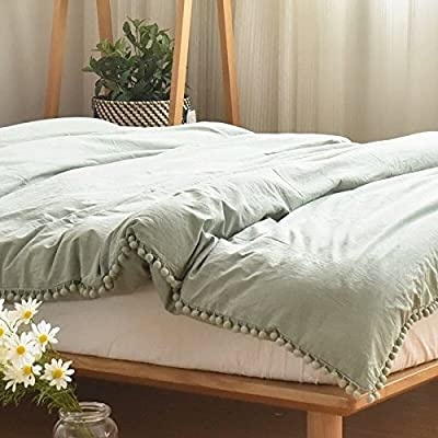 Pom Fringe Duvet Cover Set Meaning4 Polyester Cotton Twin Size Deep Gray Grey