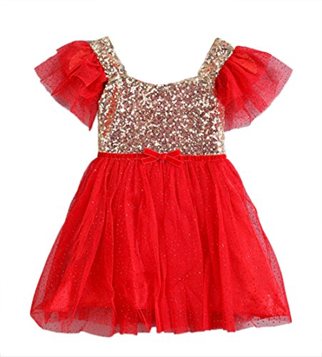 stylesilove Infant Toddler Kids Gold Sequin Tulle Flower Girl Dress, 6 Colors (2-3 years/120, Red)