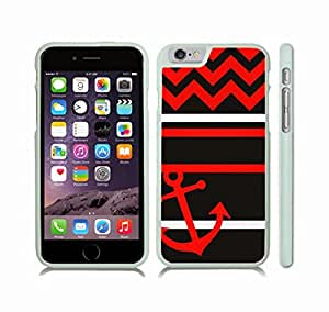 iStar Cases? iPhone 6 Plus Case with Chevron Pattern Black/ Red/ White Stripes Red Anchor , Snap-on Cover, Hard Carrying Case (White)