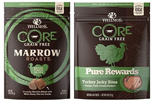 (Wellness CORE Grain Free Marrow Roasts and Pure Rewards 2 Flavor Variety Bundle: (1) Savory Turkey Marrow Roasts, (1) Pure Rewards Turkey Jerky, 4-8 Oz. Ea.)