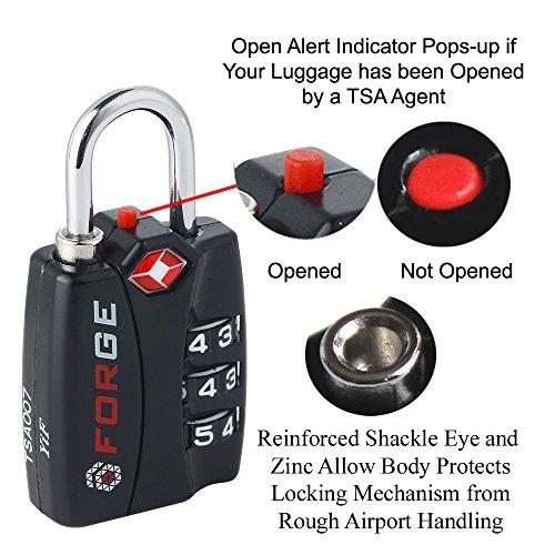 Forge TSA Locks 2 Pack - Open Alert Indicator, Alloy Body