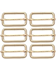 BIKICOCO Metal Slide Adjuster Buckle Tri-Glides with Movable Center Bar, for Straps, 1-1/2 x 3/4 Inch