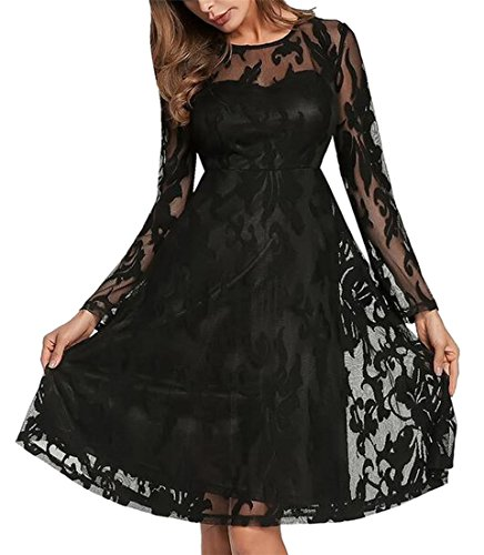 Womens Swing Crochet Long Sexy Black Jaycargogo Lace Sleeve Dresses Bnd4AYqxY