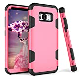 Galaxy S8 Case, KAMII 3in1 [Shockproof] Drop-Protection Hard PC Soft Silicone Combo Hybrid Impact Defender Heavy Duty Full-Body Protective Case Cover for Samsung Galaxy S8 (Rose+Black)