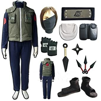 Naruto Hatake Kakashi Cosplay Costume and Shoes Set Size L