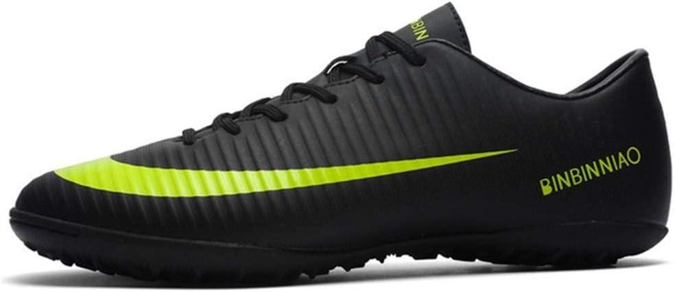 YISHIO Turf Zapatos Negro Hombres fútbol, niños Formación Grapas del fútbol Botas de Tobillo Deporte Adolescentes Zapatillas de Deporte-Razor Moldeado Stud Entrenadores de fútbol de Tierra Botas