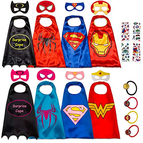 8 Superhero Capes for Kids - Super Hero Toys & Costumes Birthday Party Supplies (8 Pack Mix)