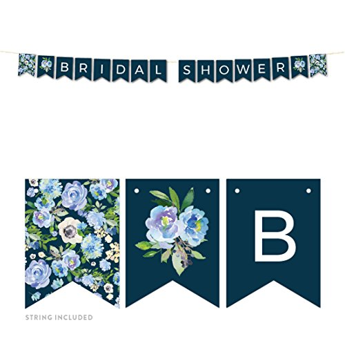 Andaz Press Navy Blue Hydrangea Floral Garden Party Wedding Collection, Hanging Pennant Party Banner with String, Bridal Shower, 5-Feet, 1 Set