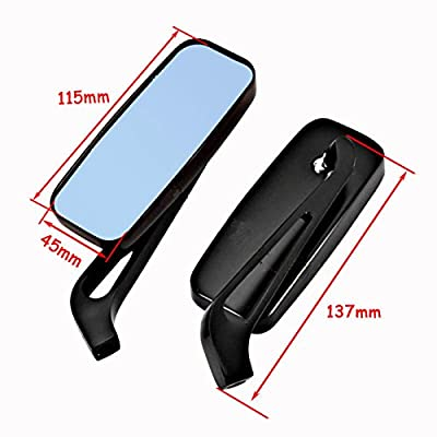 8mm/10mm Black Motorcycle Rectangle Handlebar Rearview Mirrors For Harley Softail Sportster Chopper Bobber: Automotive